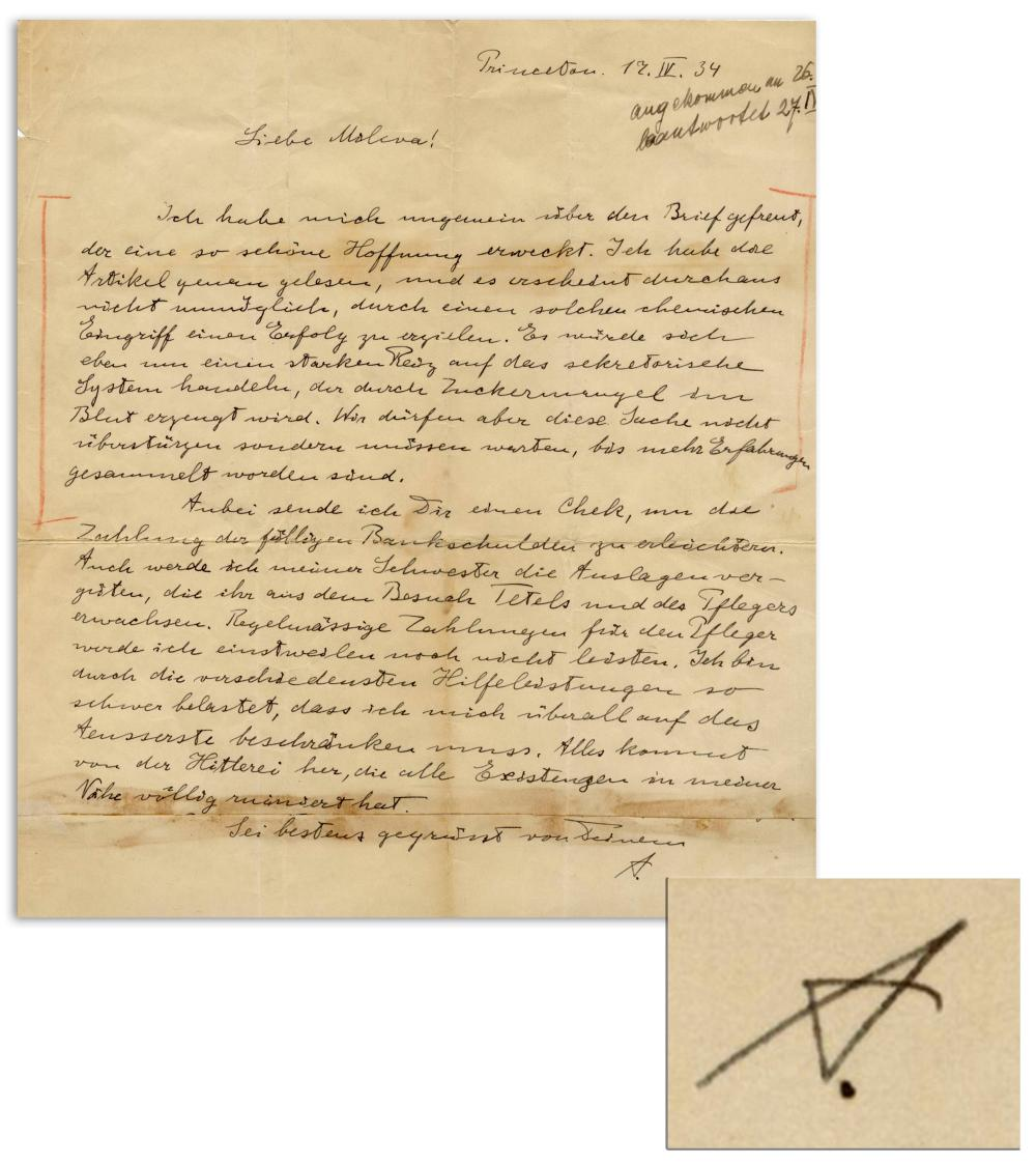 """Albert Einstein Autograph Letter Signed re Hitler! """"All this is the result of the Hitler-insanity, which has completely ruined the lives of all those around me"""""""