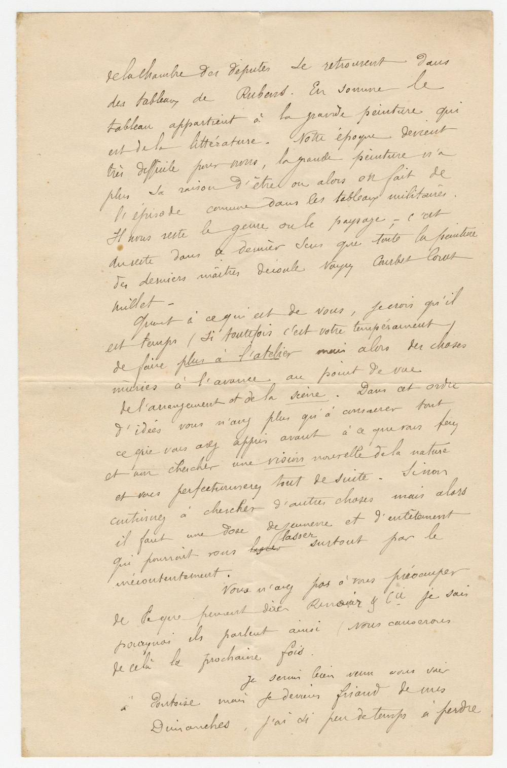 """Best Gauguin ALS! To Camille Pissarro, Discussing Renoir, Delacroix, Rubens, Courbet, Corot, & Millet, & Considering his Future as a Full-Time Artist: """"I have it in my head that I would become a painter"""""""