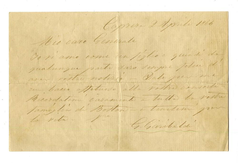 Giuseppe Garibaldi 2 Fatherly ALSs to General William Bartlett & His Wife
