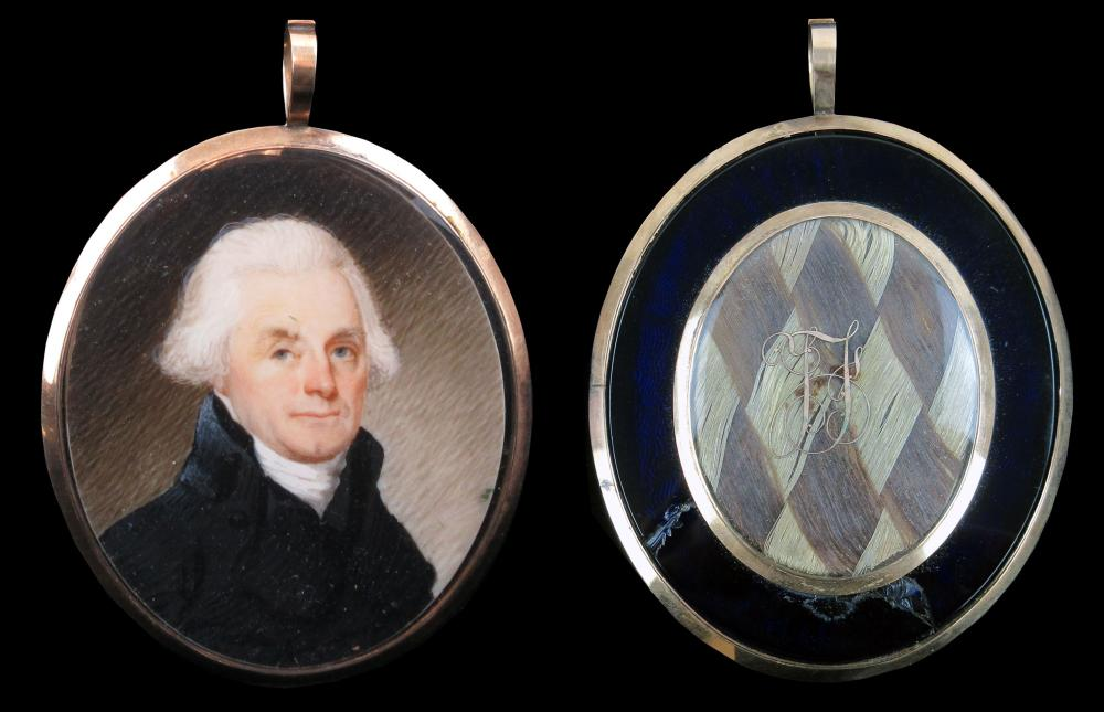 Among the Most Important Jefferson Relics Extant! Portrait Miniature Attributed to Robert Field, with Jefferson's Hair, Perhaps 1,000 Strands or More