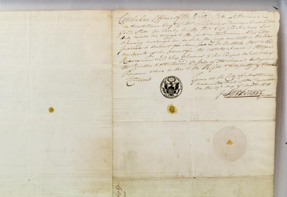 Jefferson & Madison Signed Four-language Ship's Papers for the Essex