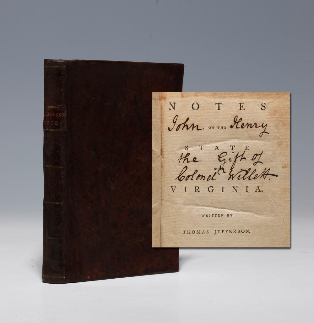 "Rare 1st American Ed of Jefferson's ""Notes on the State of Virginia"", 1788, Exceedingly Scarce in Contemporary Sheep"