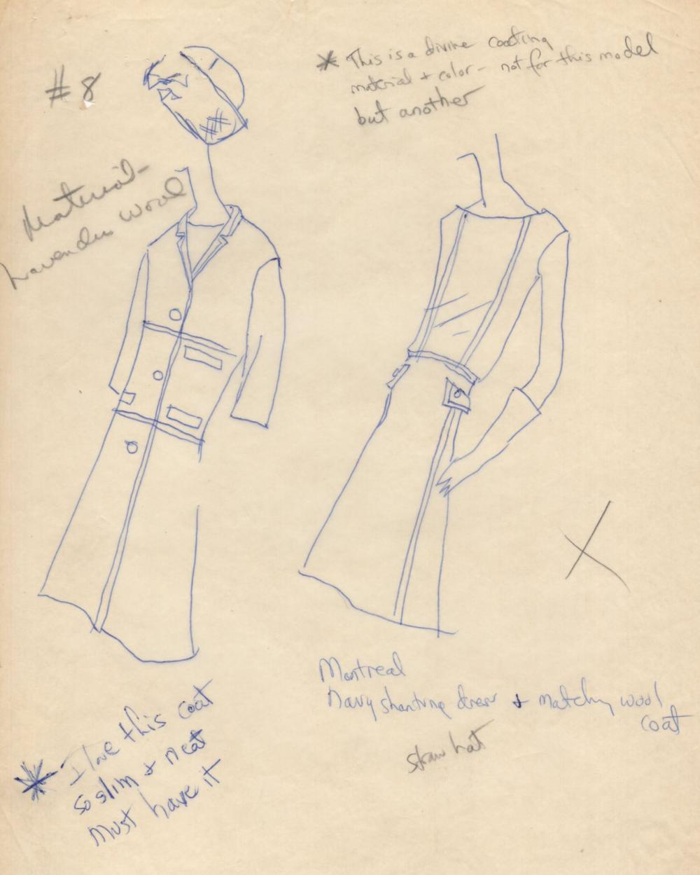 """Jackie Kennedy's Own Annotated Fashion Sketch Submitted to Oleg Cassini: """"...must have it"""""""
