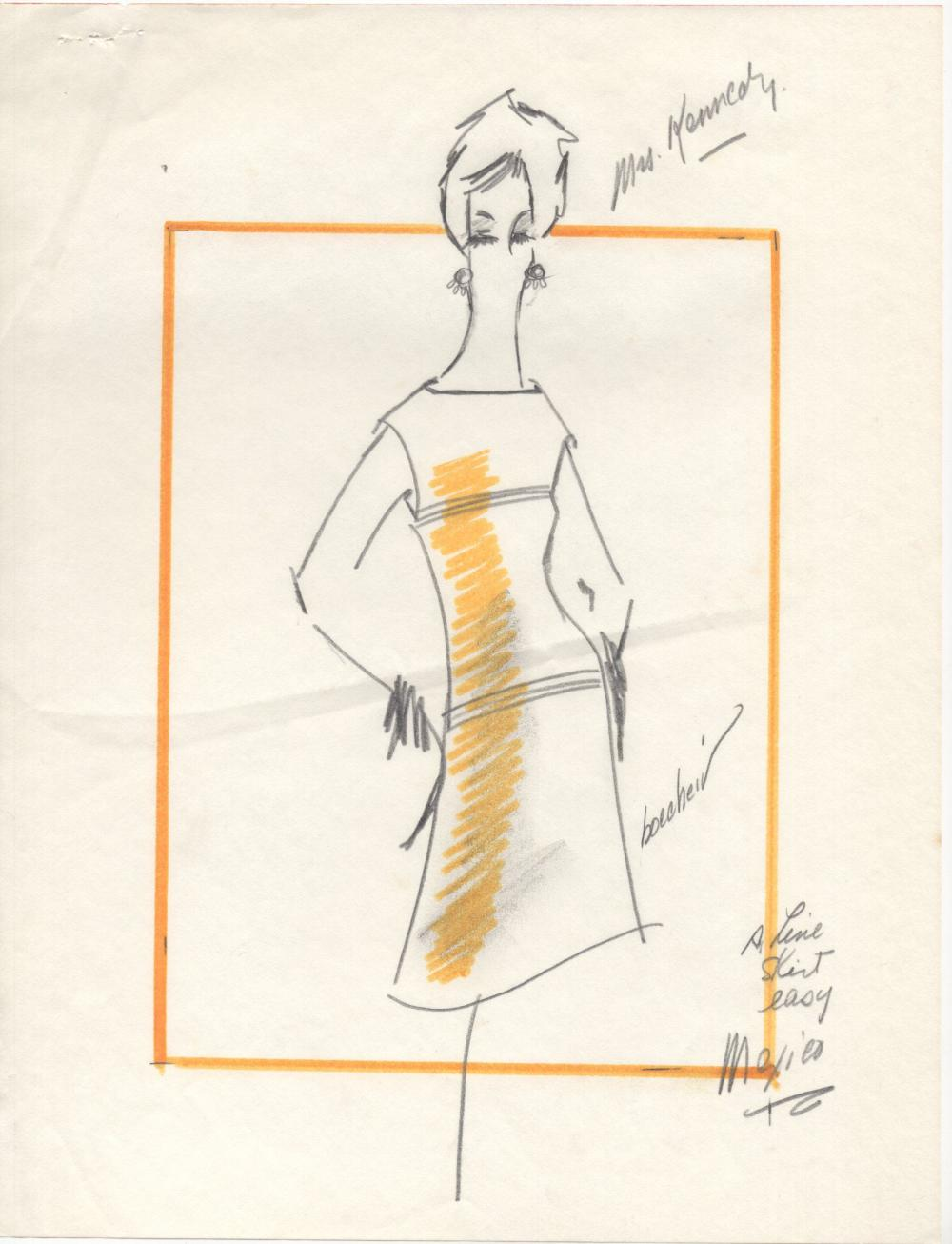 Jackie Kennedy's Oleg Cassini-Designed Original Fashion Sketch, with Jackie Annotated French Fashion Magazine Tear-out, Both Related to 1962 Mexico Trip