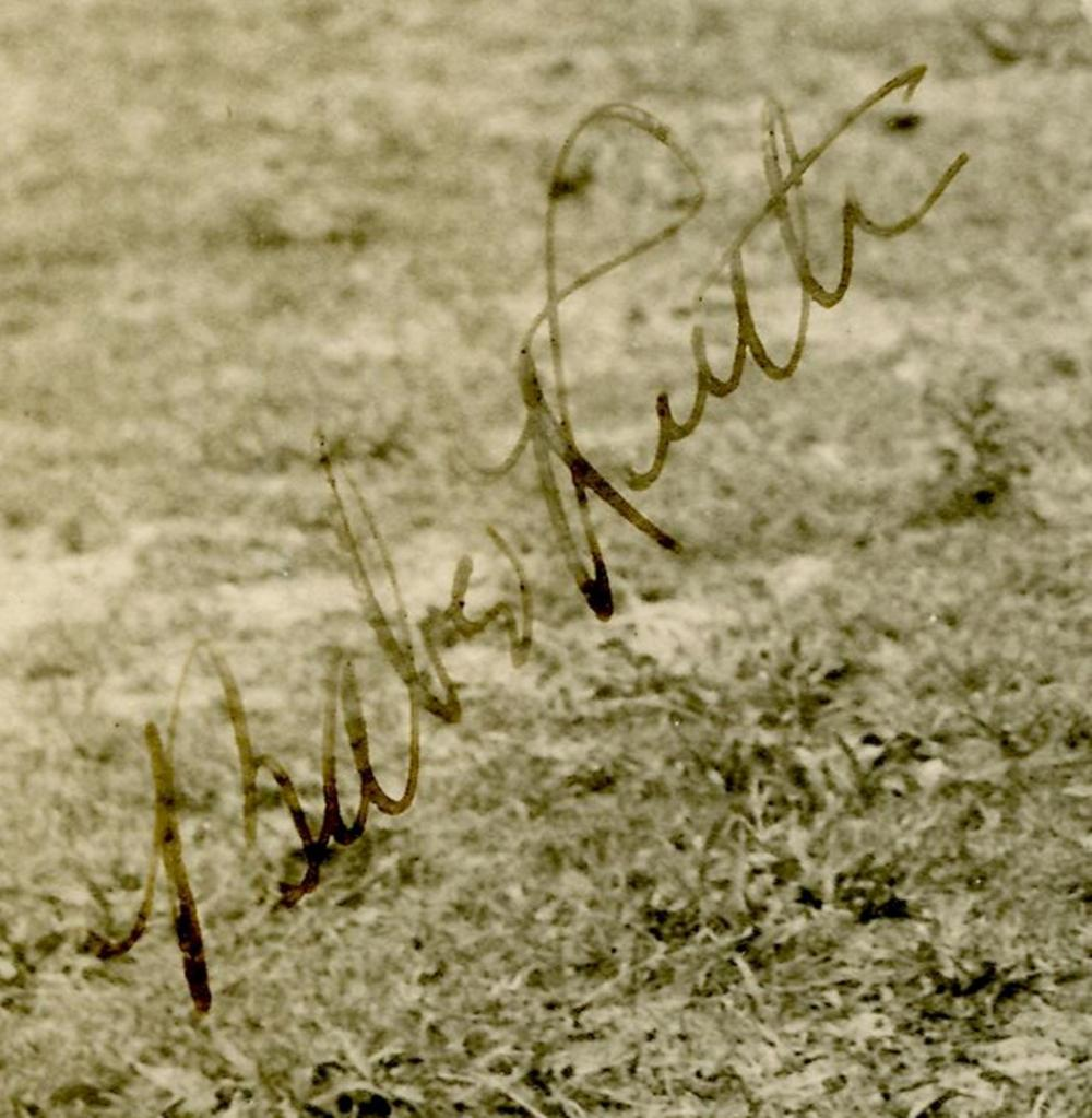 Babe Ruth Signed Photograph with A Young Fan. JSA COA