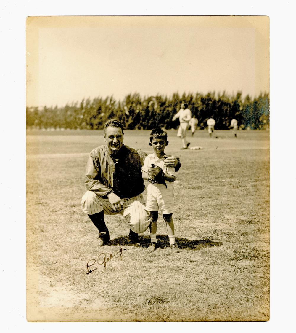 Lou Gehrig Signed Photograph, With Babe Ruth in the Background, JSA COA