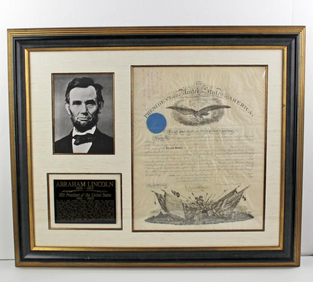 Attractive Abraham Lincoln Signed Military Appointment, For Indian Fighter 1864