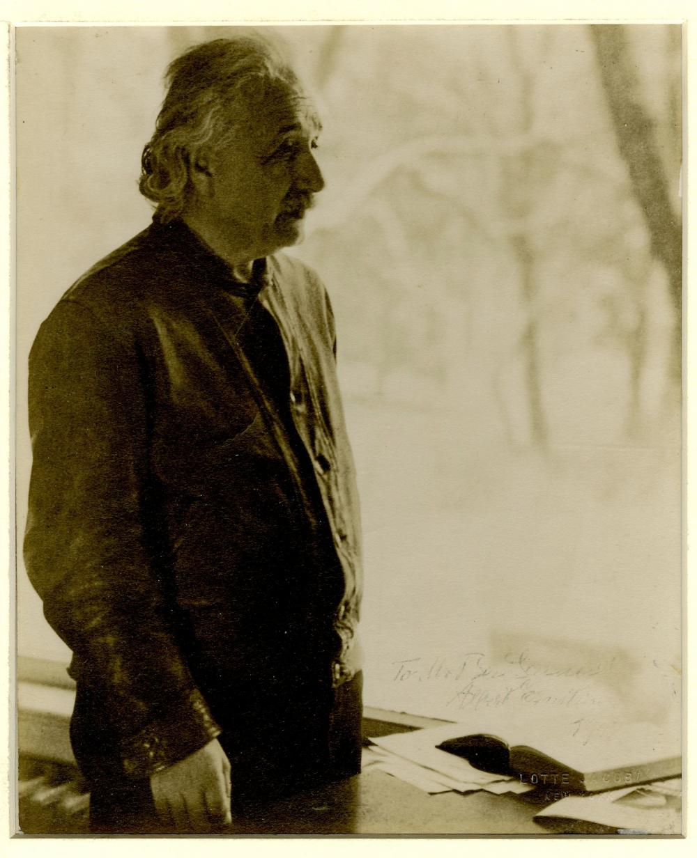 Iconic Image of Albert Einstein Signed, Wearing His Leather Jacket, By Lotte Jacobi
