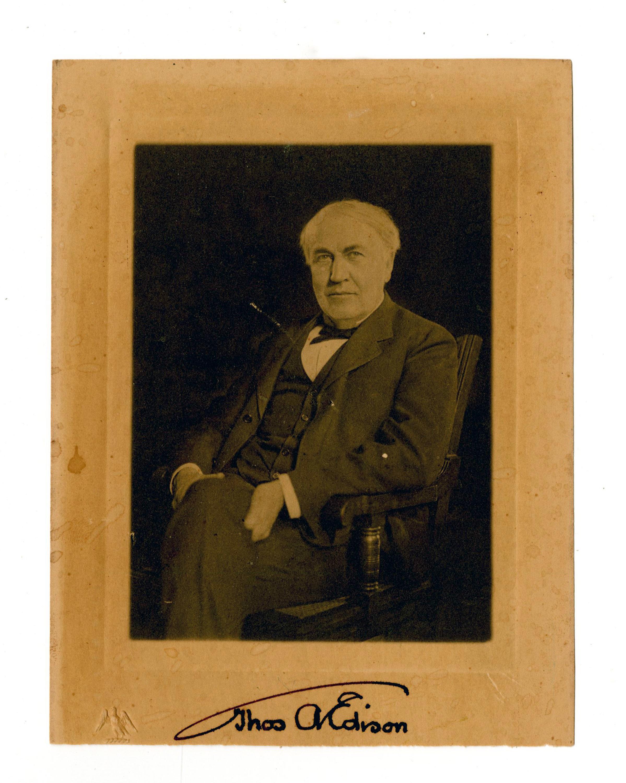 Thomas Edison Signed Three-Quarter Portrait Photograph