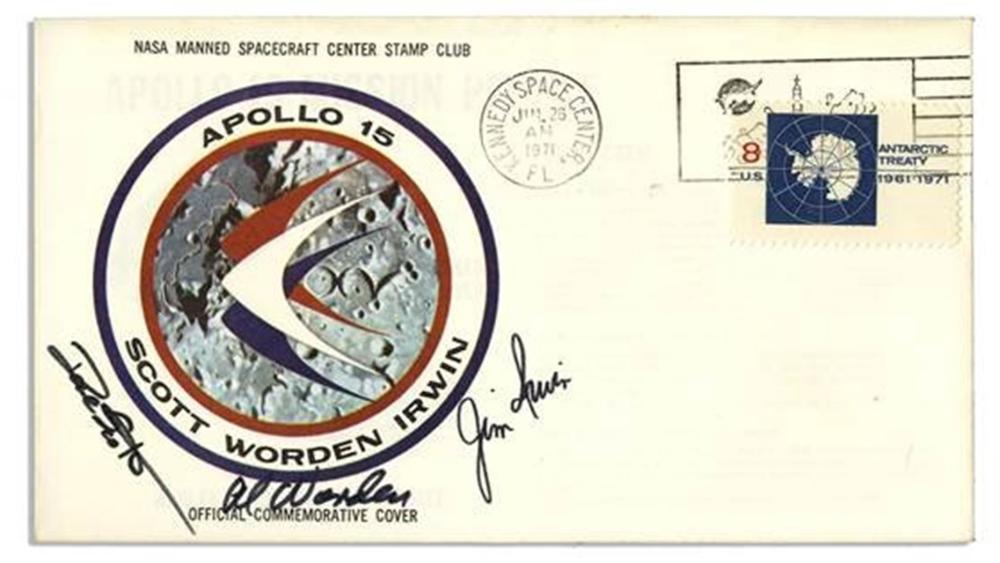 Apollo 15 Crew Signed Insurance Cover