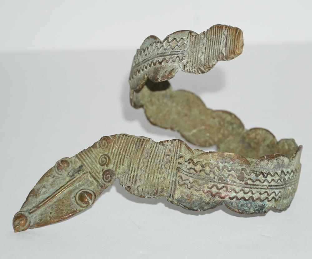 Tribal Ancient Bronze Snake Armlet Circa early 19th Century