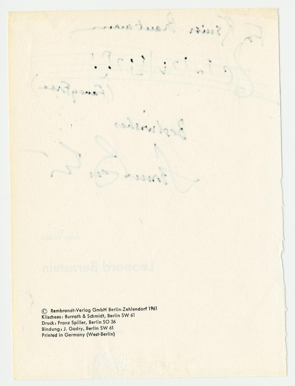 """Leonard Bernstein Signed Title Page from His Biography, with Two Measures of Musical Notation from 1944 Ballet """"Fancy Free"""""""