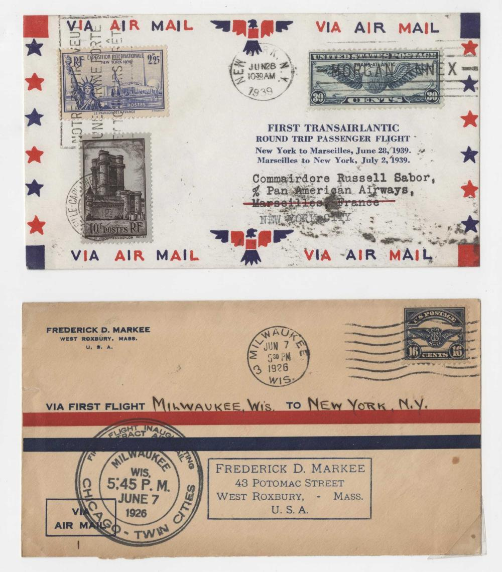 Four Airmail Covers Including Lindbergh Flight