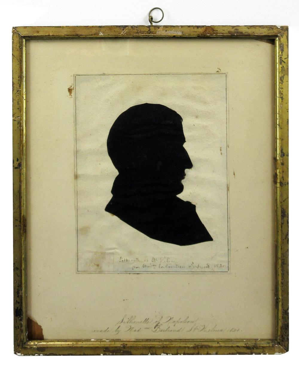 Spectacular Napoleon Bonaparte Silhouette Made by His Devoted Follower's Wife at St. Helena One Year Before His Death, Ex-Nicholson Napoleon Collection