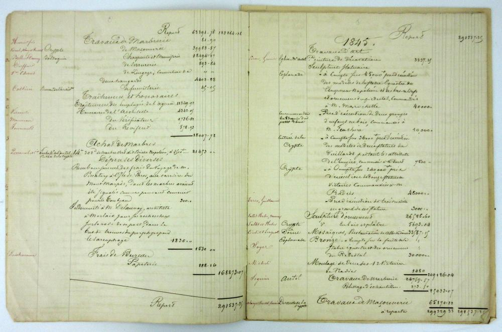 Napoleon's Tomb at Les Invalides: Ledger Itemizing Expenses from First Phase of Construction, Ex-Nicholson Napoleon Collection