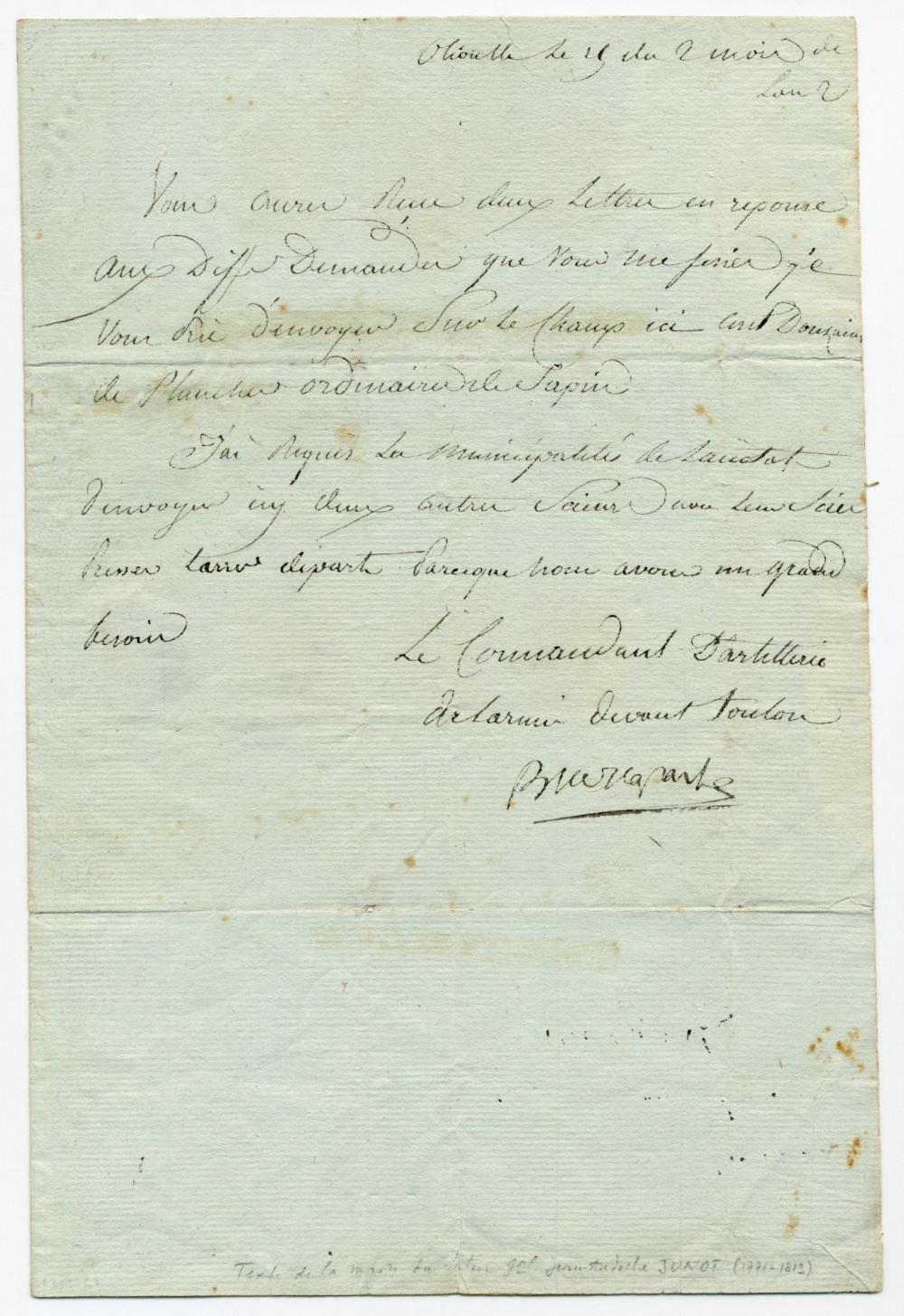 """Napoleon Bonaparte LS Requesting Supplies During Siege of Toulon, Early Signature & """"BP"""" Wax Seal, Ex-Nicholson Napoleon Collection"""