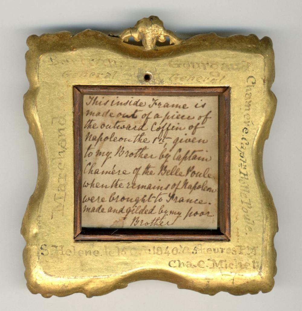 Napoleon's Miniature Portrait in Mahogany Frame from his St. Helena Coffin, Ex-Nicholson Napoleon Collection