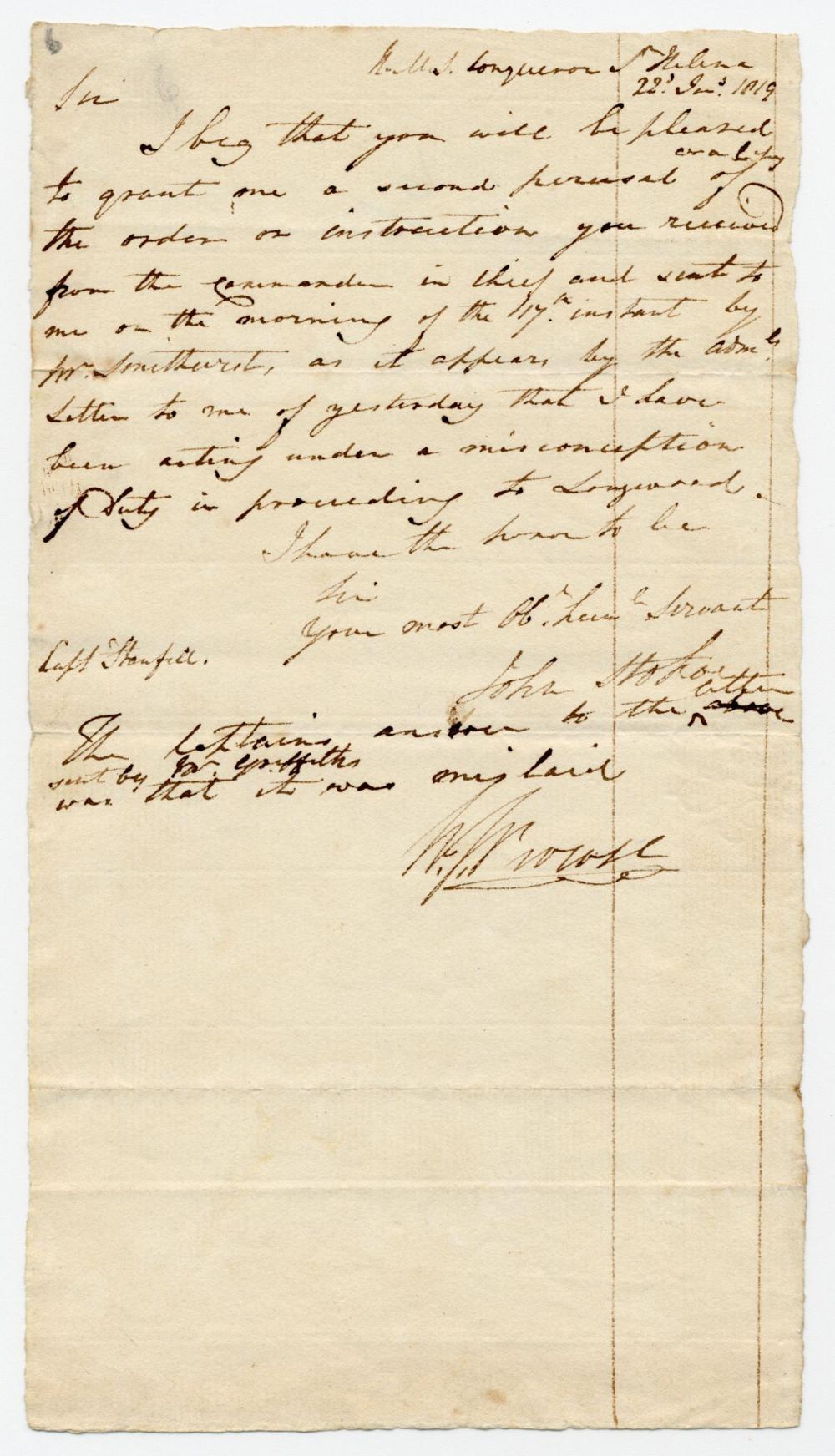 Napoleon Captivity-Era St. Helena Letters Relating to Feuding British Captors, Ex-Nicholson Napoleon Collection
