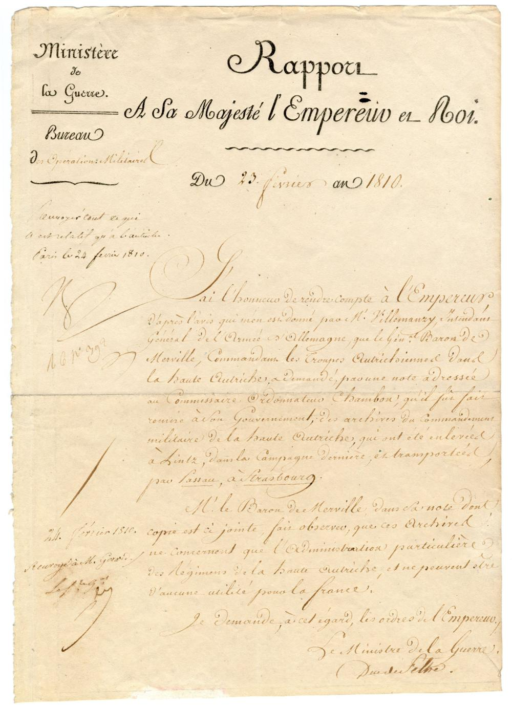 Napoleon Demands Seizure of the Enemy's Military Archives In Order To Augment Strategy Also signed by War Minister Duc de Feltre