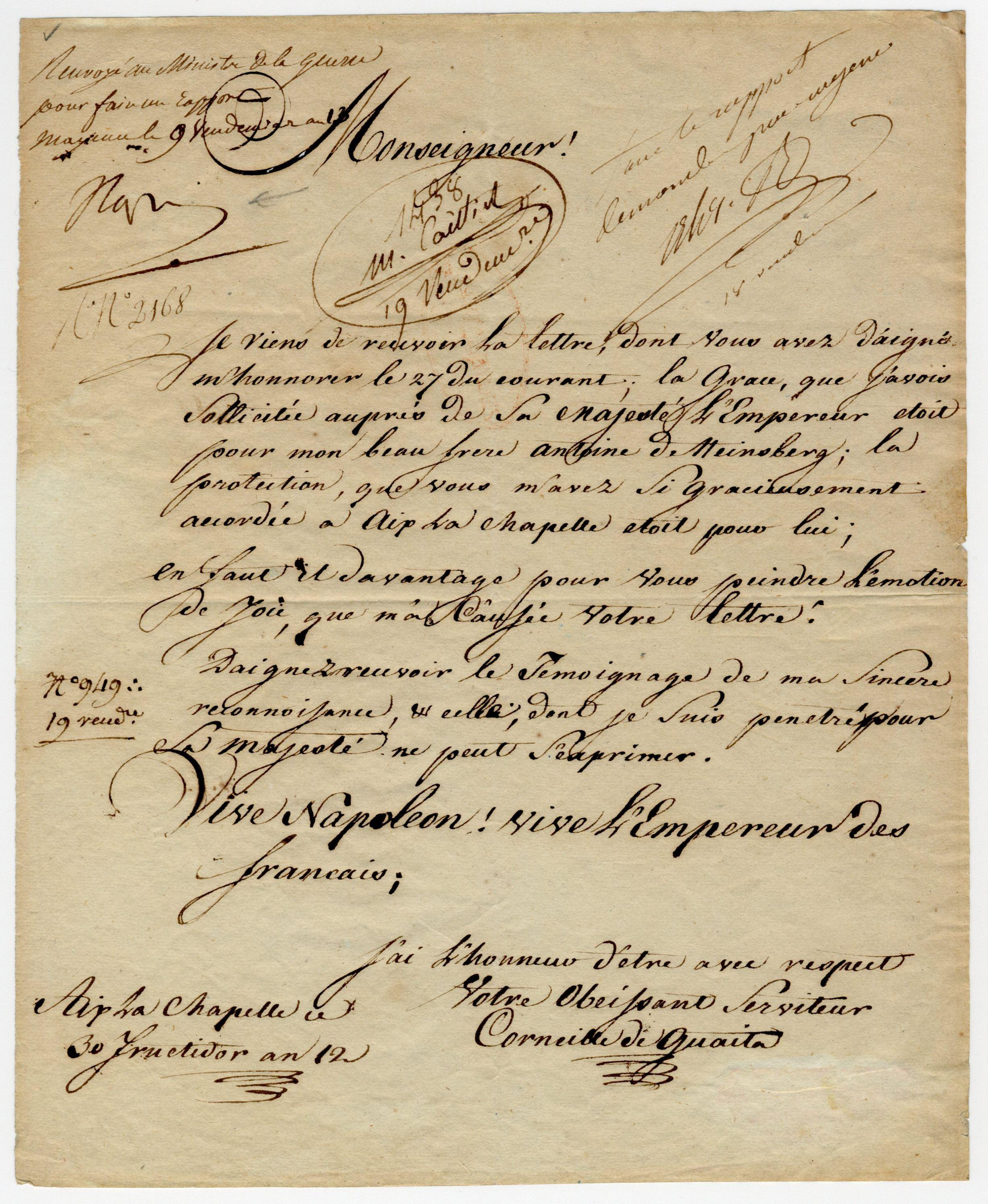 "Napoleon & War Minister Berthier Gorgeous Signed Letter For Important German with Phrase ""Long live Napoleon! Long live the Emperor of the French"""