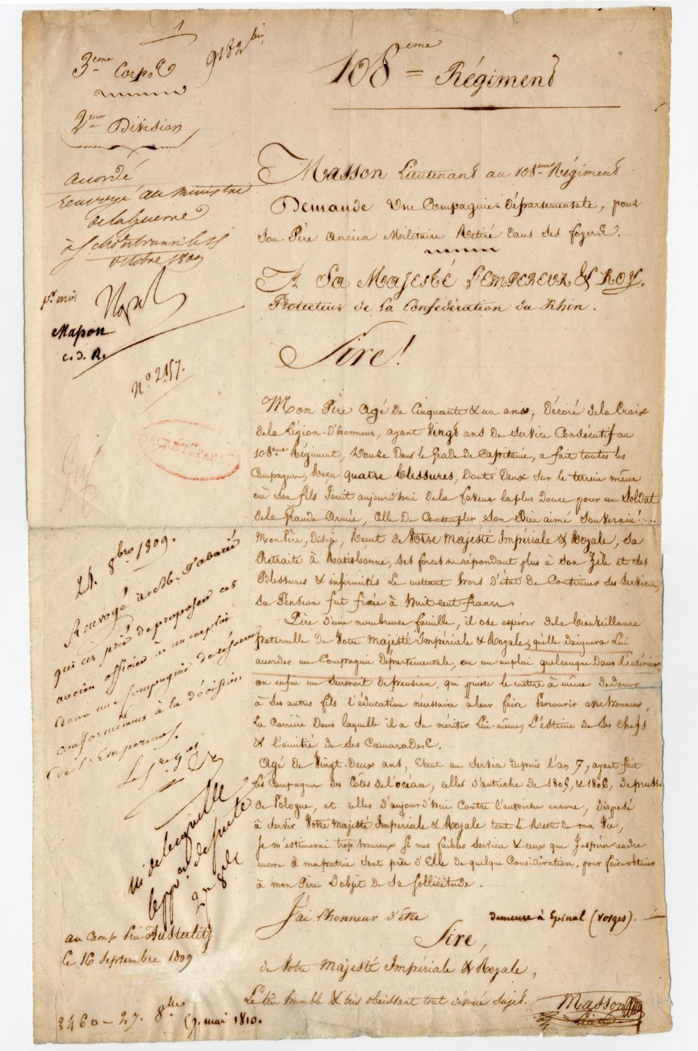 Napoleon Approves Sons Request For his 4x Battle Wounded Legion of Honor-Awarded Father. A Lovely Letter!