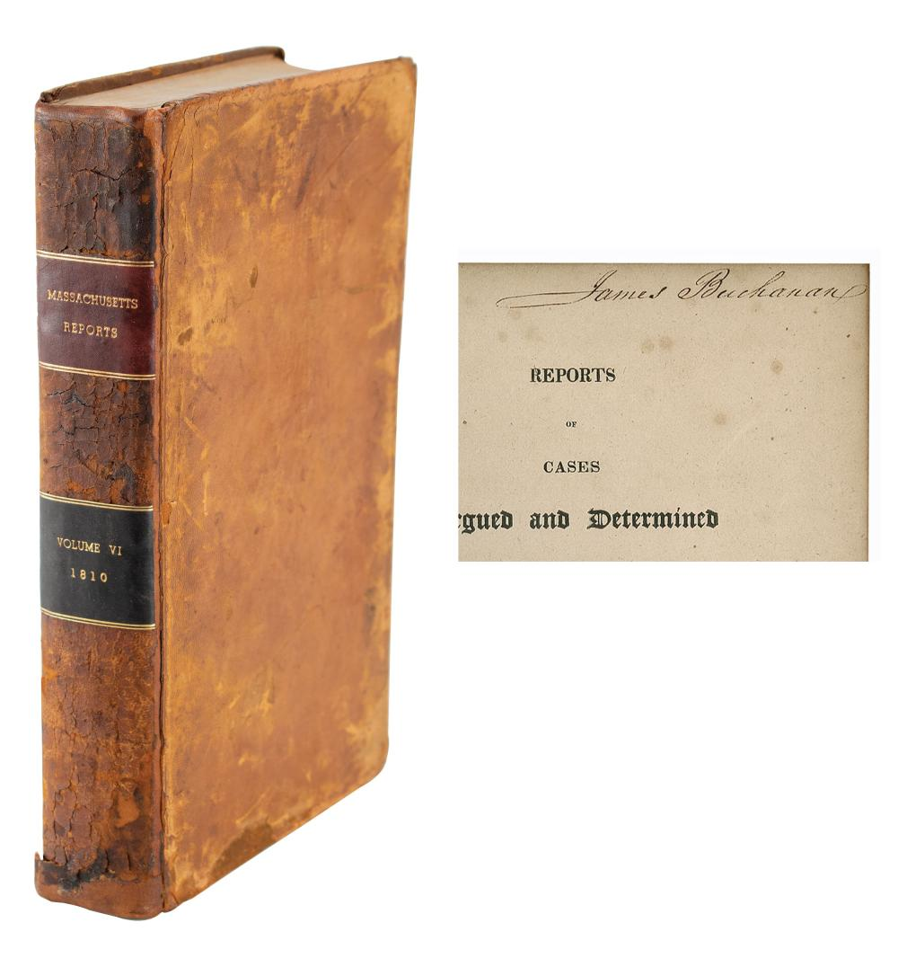 """James Buchanan Signed Book, """"Reports of Cases Argued ..."""""""