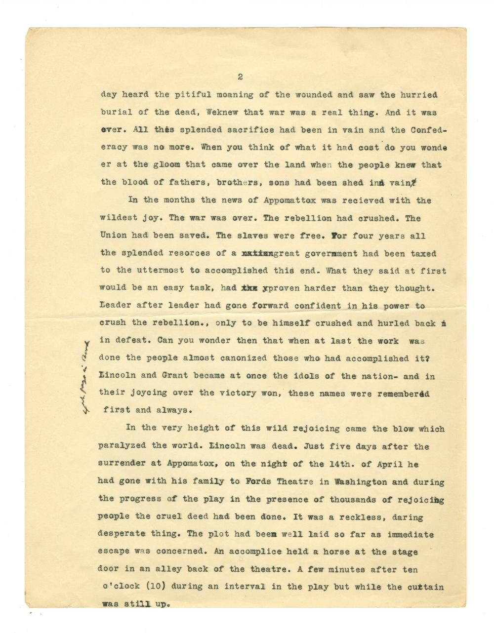 Contemporary Account of Lincoln Assassination, Ex-Nicholson Collection
