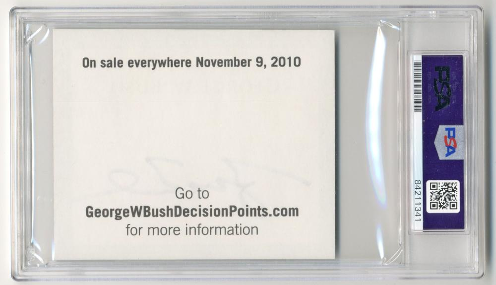 "George W. Bush Signed ""Decision Points"" Promotional Sticker, PSA/DNA Slabbed & Graded Mint 9!"