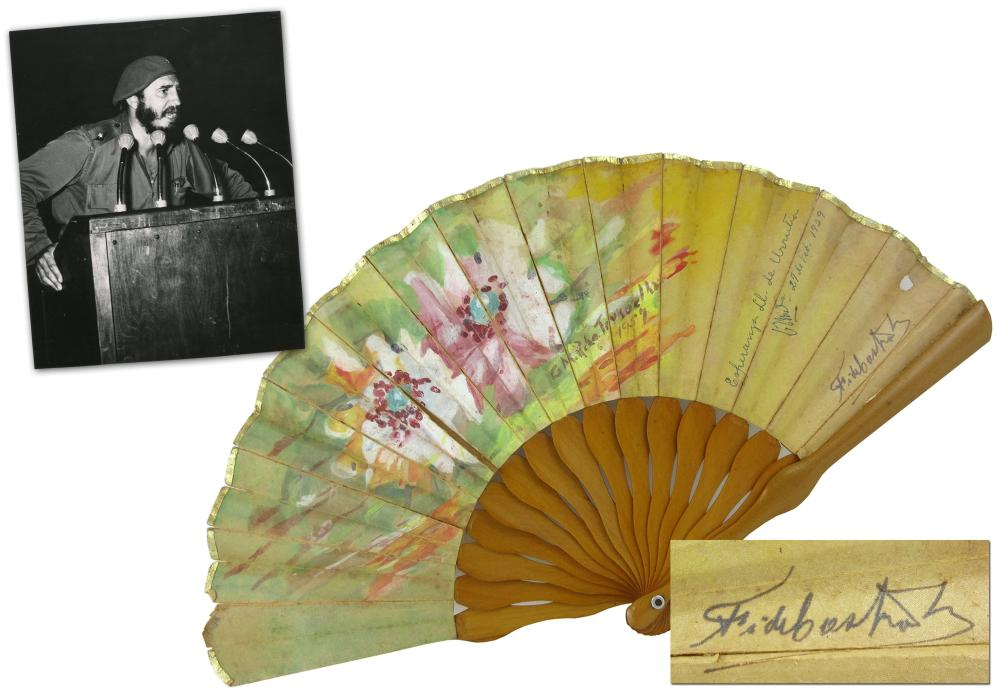 Fidel Castro Signed Hand-Painted Fan & Photo