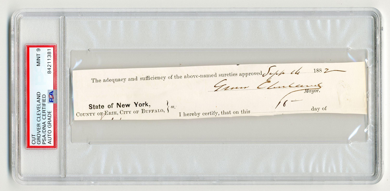 Grover Cleveland Autograph as Mayor of Buffalo, PSA/DNA Slabbed & Graded Mint 9!