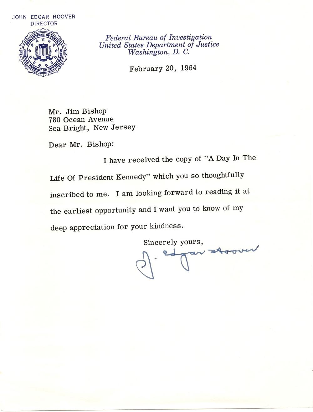 J. Edgar Hoover Two Typed Letters Signed, With JFK Content