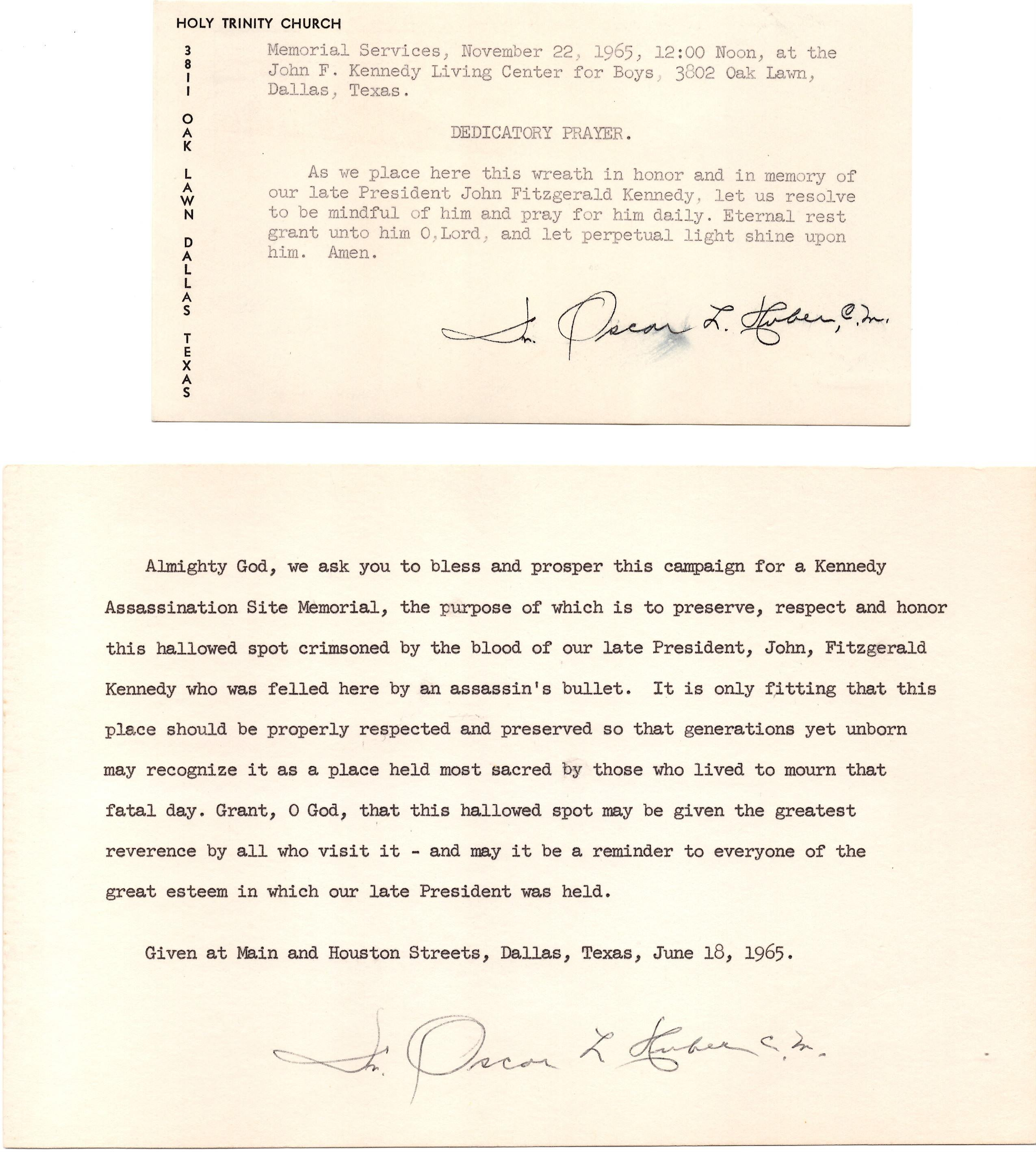 John F Kennedy, Two Prayers Signed by Priest Who Performed Last Rites