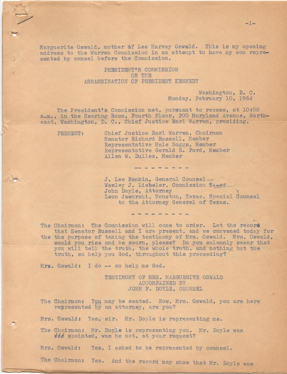Archive Relating to JF Kennedy and Oswald Deaths, 7 Documents, 14 pp