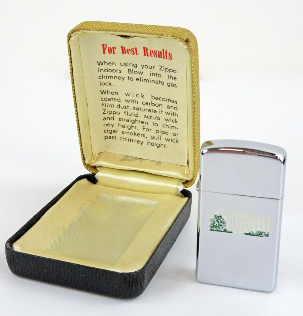 White House Zippo Lighter for the Unhappy Christmas after the Kennedy Assassination