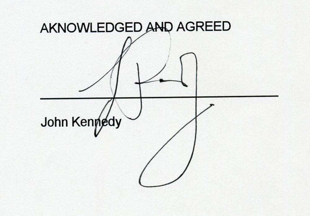 John F. Kennedy, Jr. Signed Legal Contract Requiring Private Investigator
