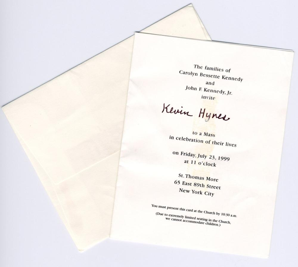 John F. Kennedy, Jr. & Carolyn Bessette Kennedy Mass Invitation & Prayer Card
