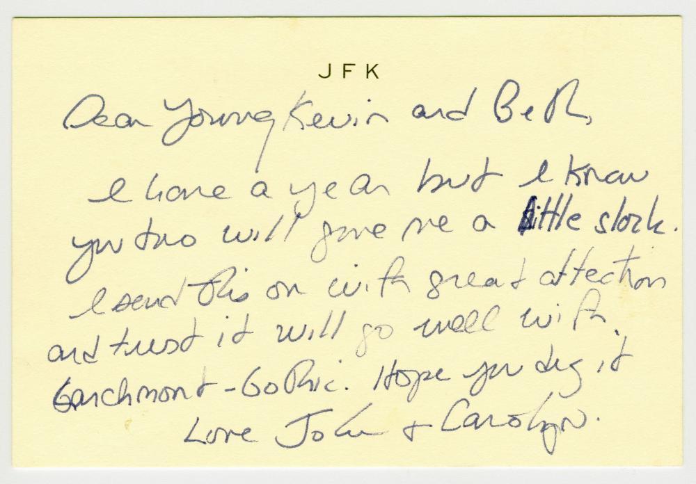 "John F. Kennedy, Jr. ALS on ""JFK"" Engraved Card"