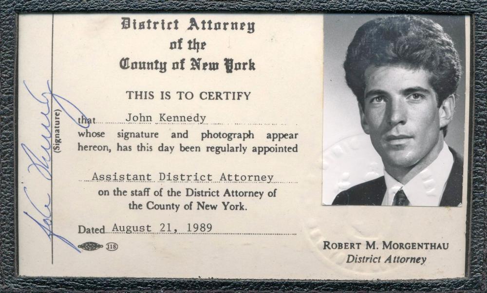 John F. Kennedy, Jr.'s Signed Manhattan D.A.'s Office ID