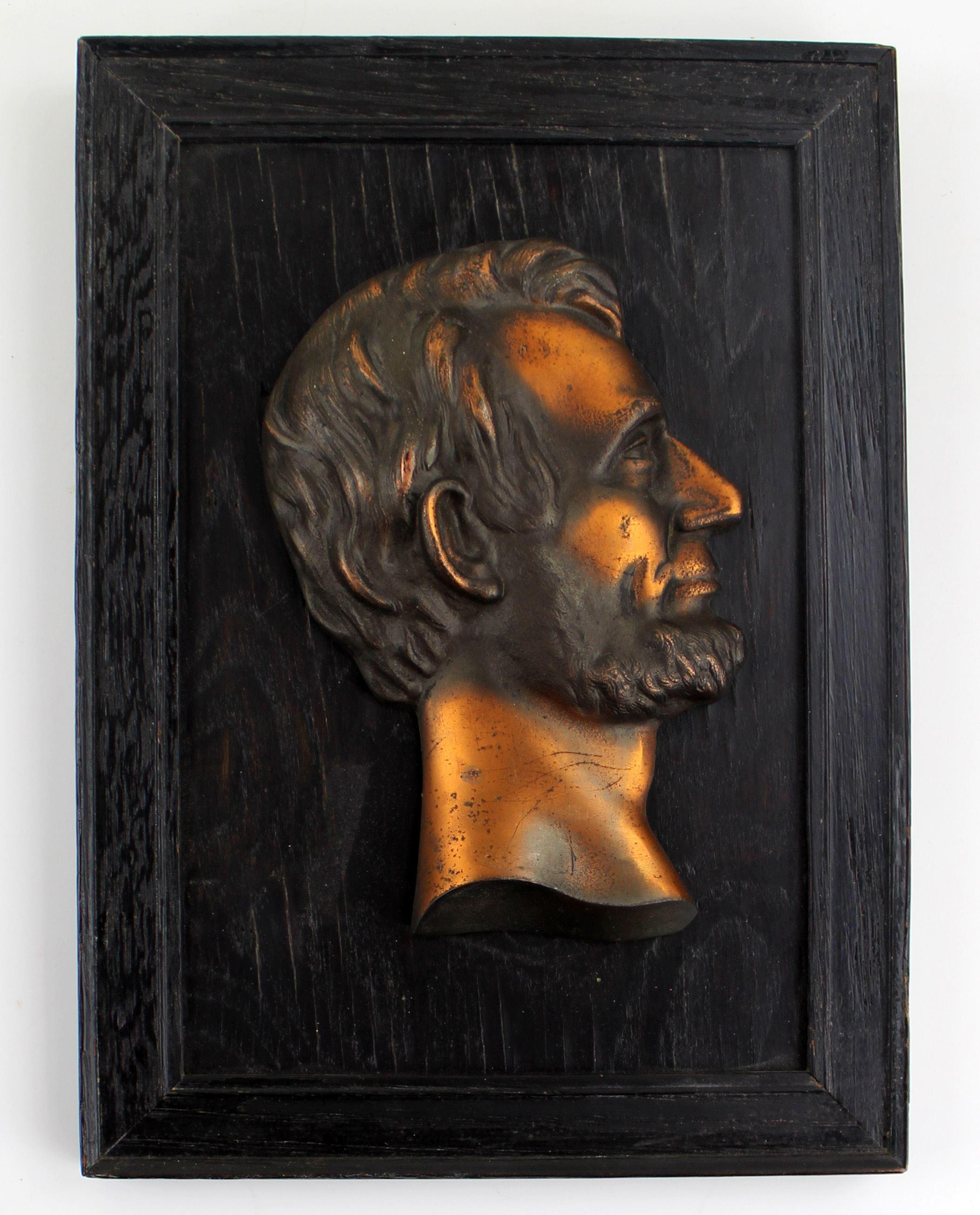 Abraham Lincoln Copper Bust on Frame from Lincoln Home