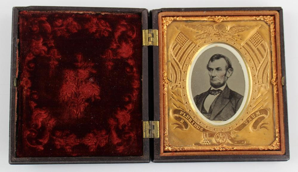 Abraham Lincoln Tintype in Magnificent Brass Patriotic Mat and Gutta-Percha Case