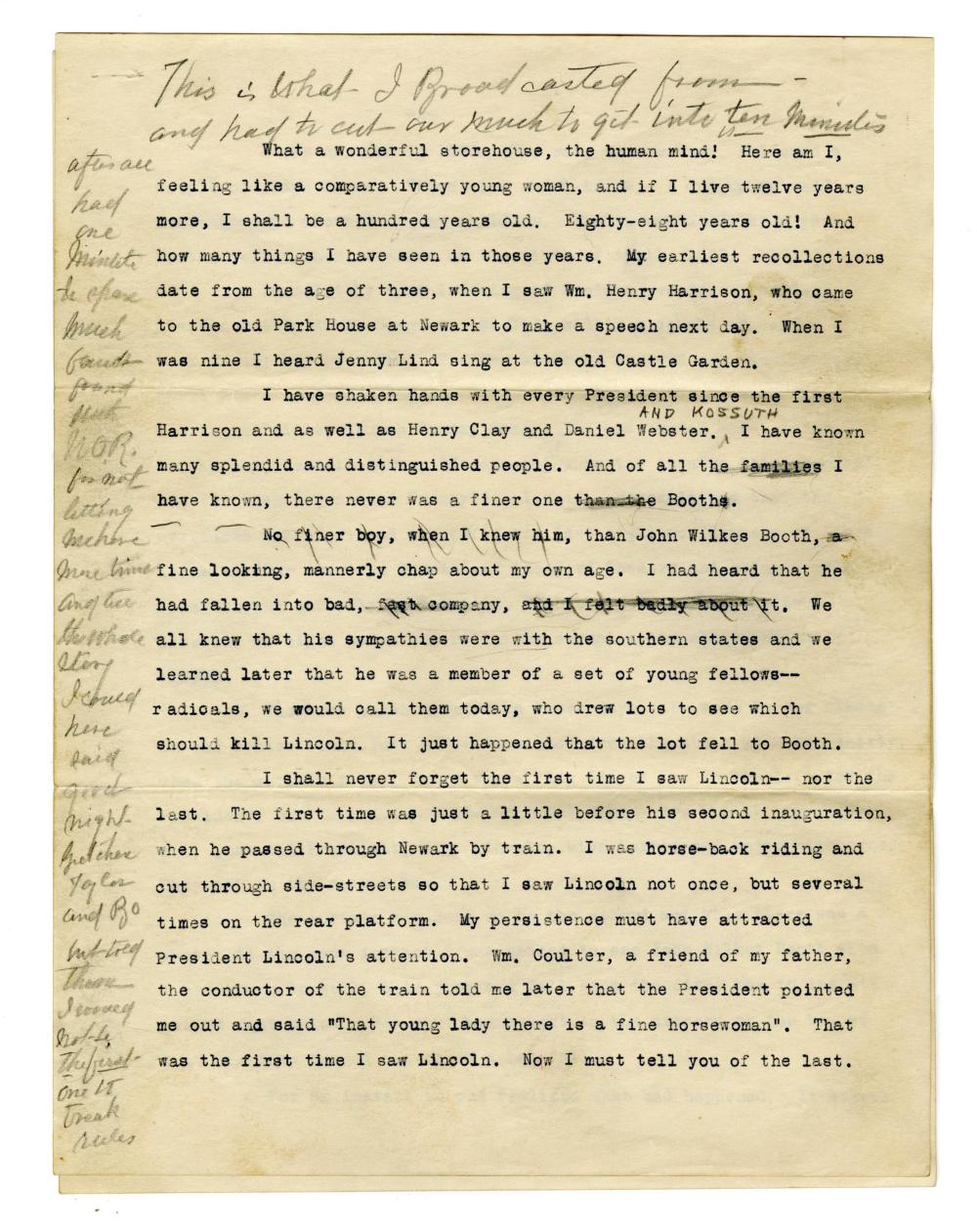A. Lincoln Radio Broadcast Eyewitness Account, Ex-Nicholson Collection
