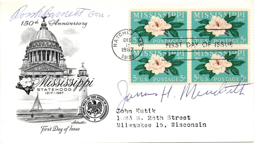 Civil Rights Activist James Meredith Signed First Day Cover