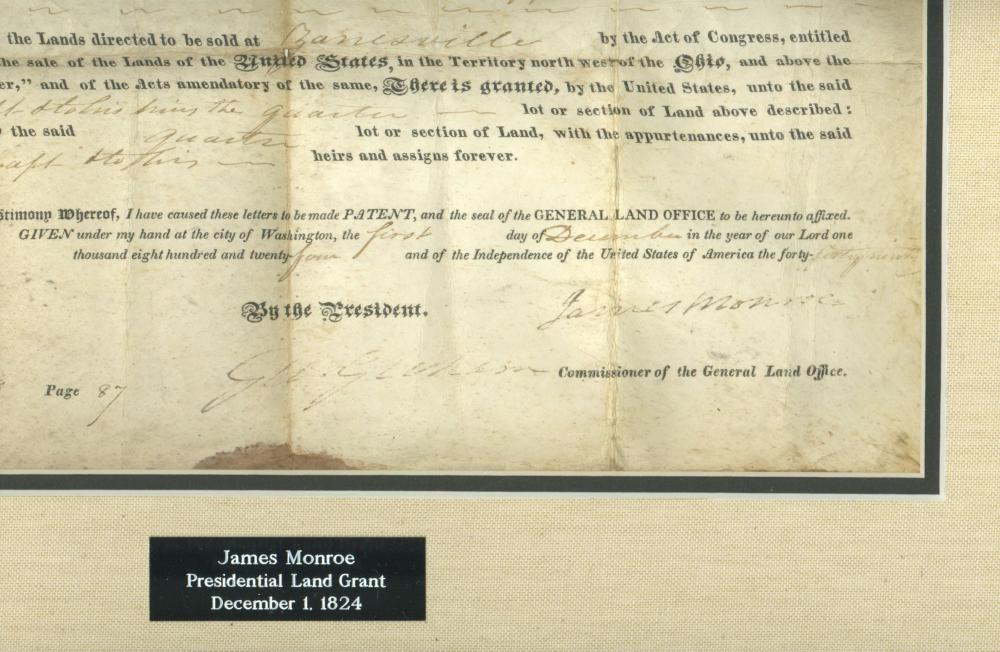 James Monroe Signed Ohio River Survey Land Deed