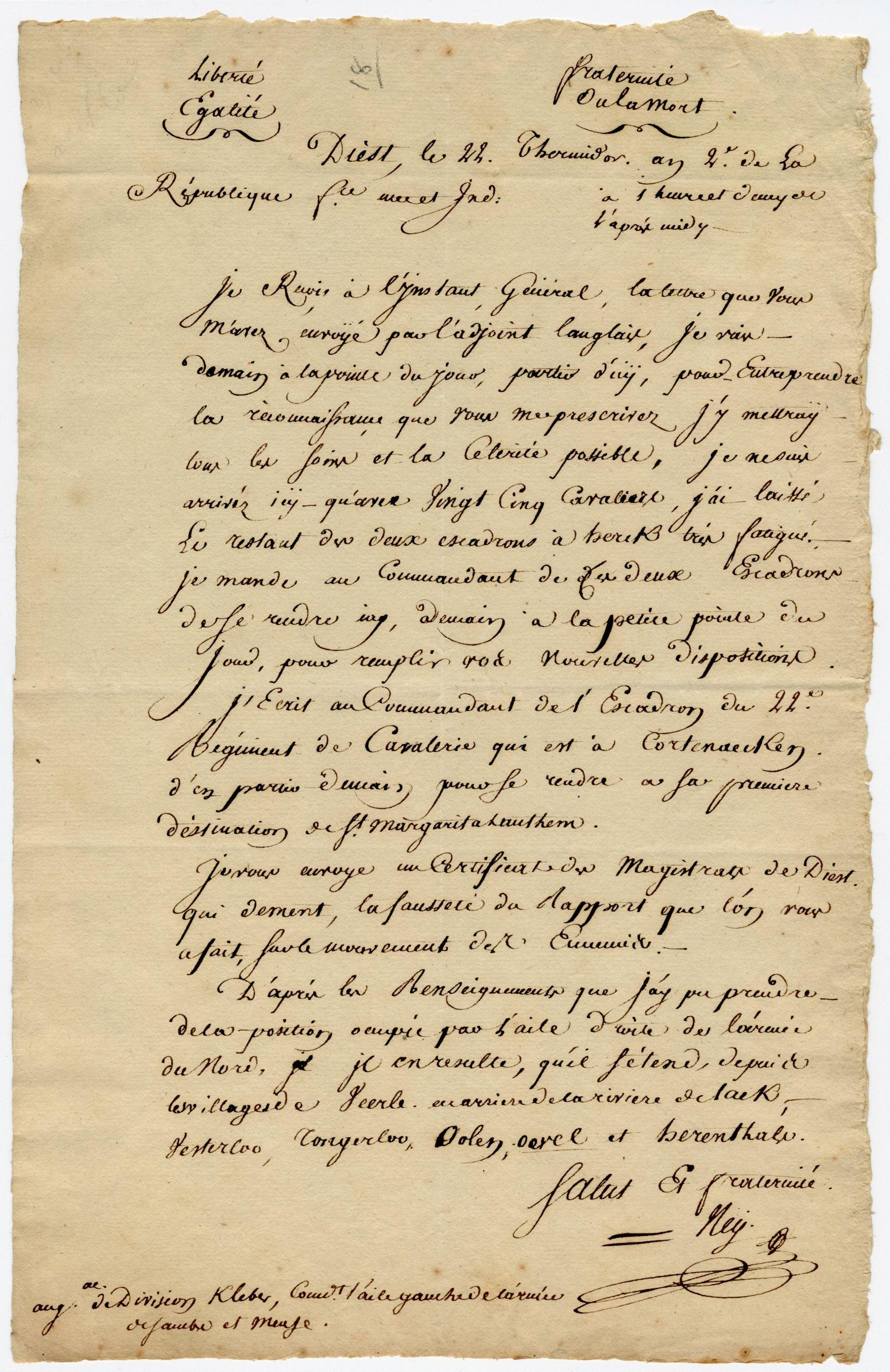 Michel Ney, Napoleon's On- & Off-Again General, ALS Re: French Republican Troop Movements in Flanders During the War of the First Coalition, Ex-Nicholson Napoleon Collection