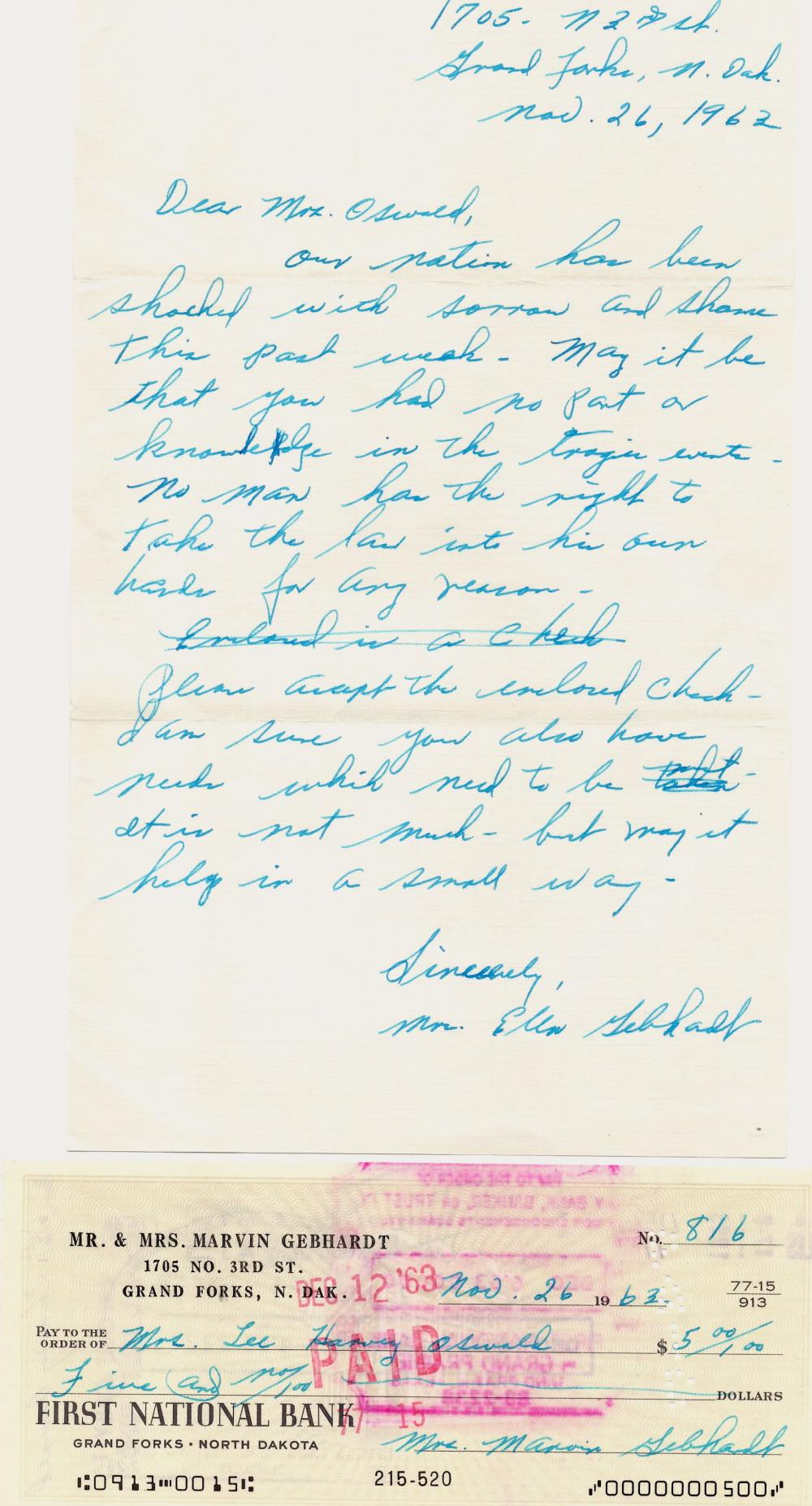 """""""Mrs. Lee Harvey Oswald"""" Rare Endorsed Check Signed Only a Few Days After Assassination!"""