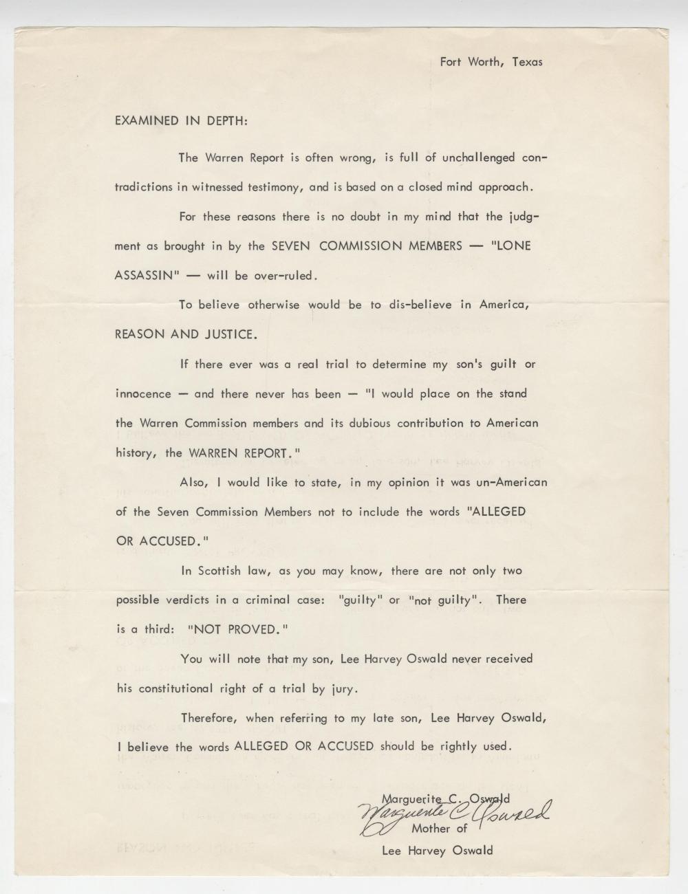 Marguerite Oswald Signed Statement on Assassination