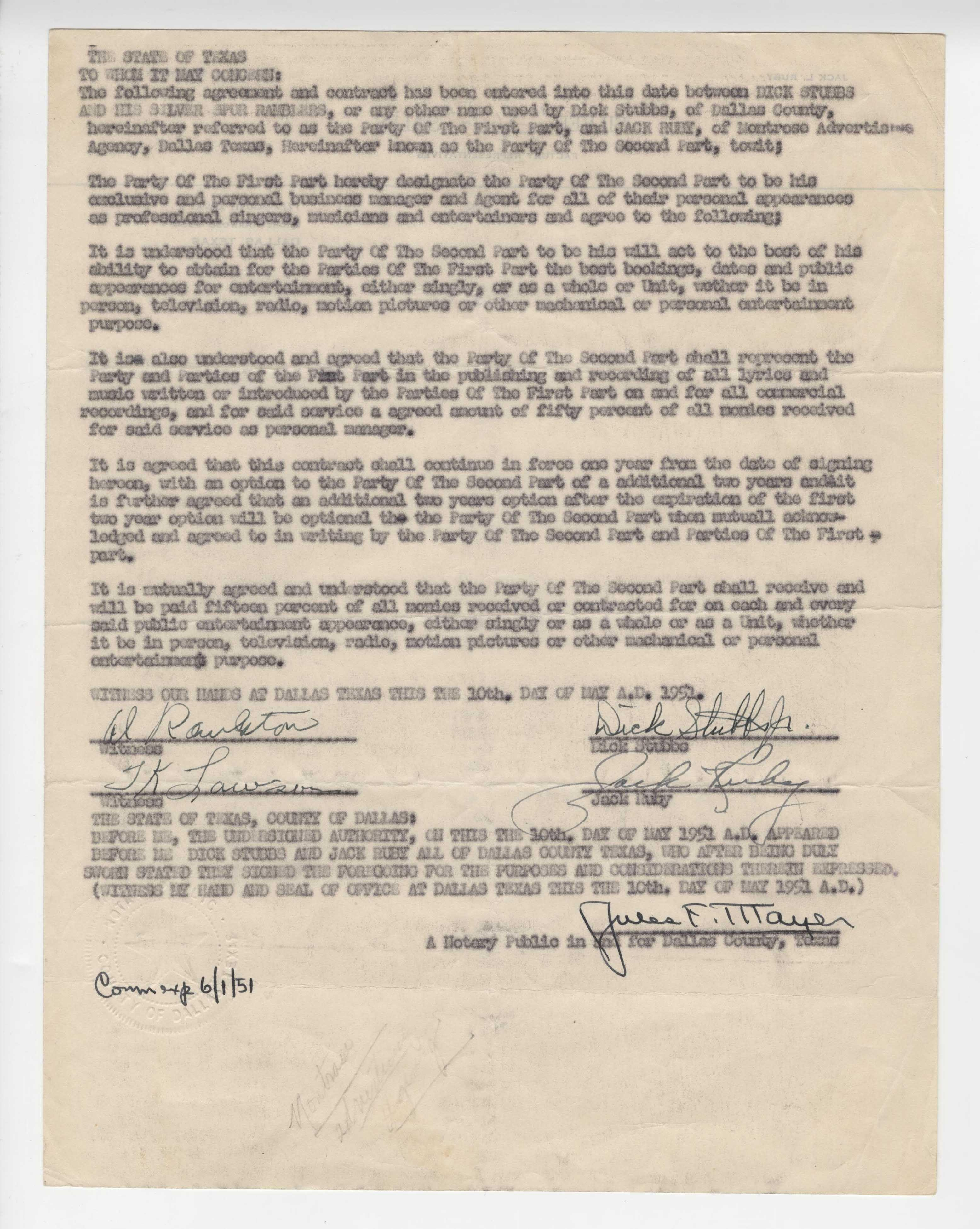 Jack Ruby Signed Entertainment Contract