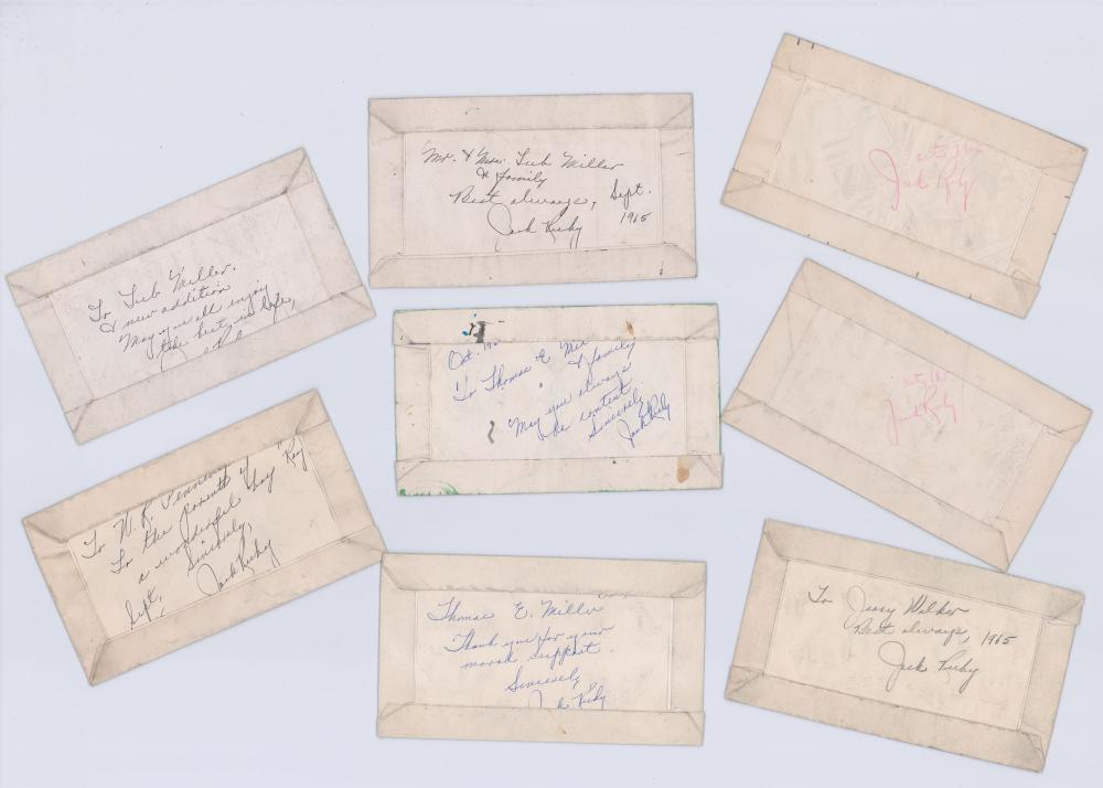 Jack Ruby Signed Jailhouse Drawings, 8 Pieces