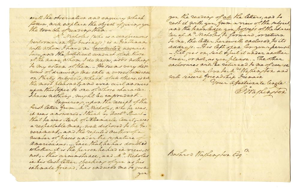 G. Washington ALS Signed 4x to Nephew Re: Robert E. Lee's Father and Staying Out of Political Fray