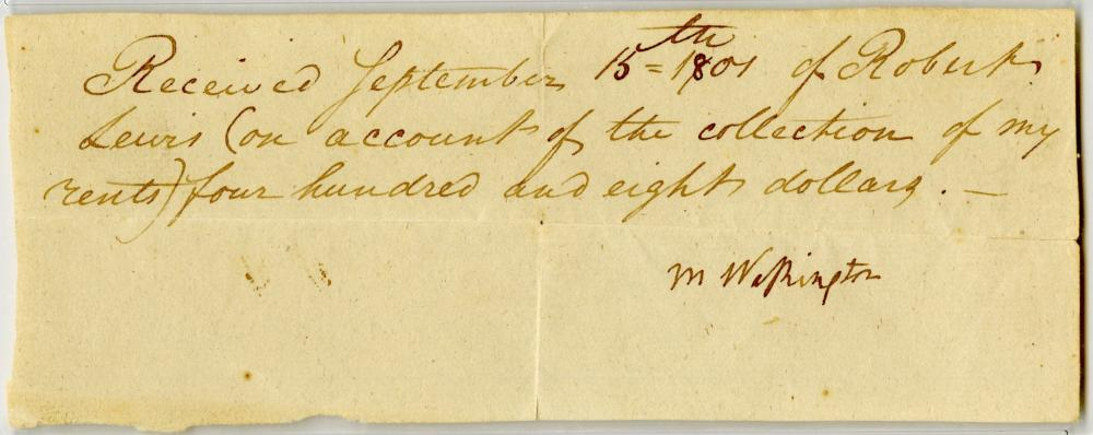 Martha Washington Signs Receipt for Rent of Western Lands Owned by George Washington, PSA/DNA Encapsulated NM-MT8